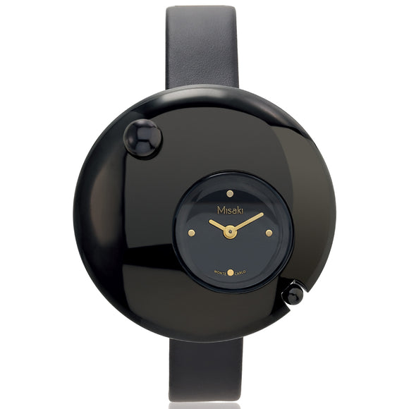 Misaki Eclipse Women's Black Leather Strap Watch - Watch it! Pte Ltd