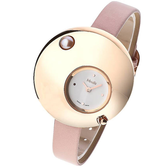 Misaki Eclipse Women's Rose Gold With PINK Leather Strap Watch - Watch it! Pte Ltd