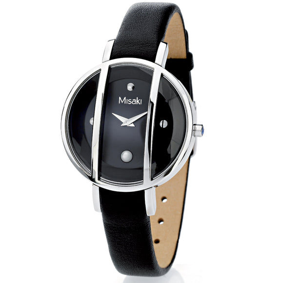 Misaki Ladies Pearl Black Leather Watch - Watch it! Pte Ltd