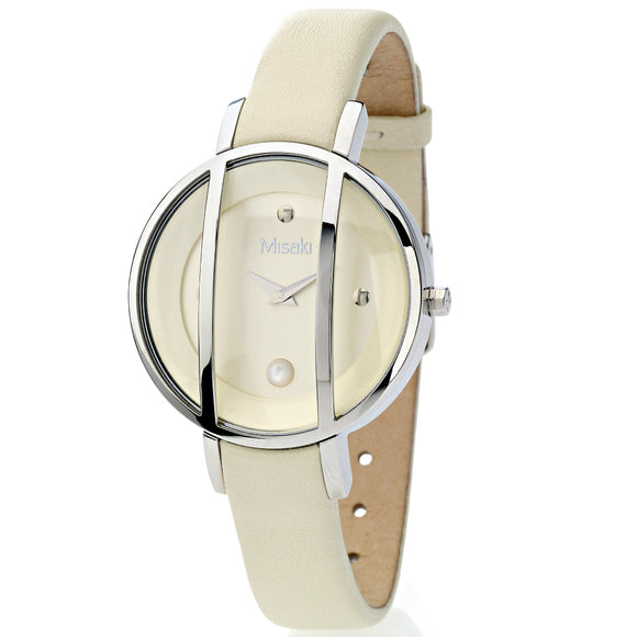 Misaki Ladies Pearl Cream Leather Watch - Watch it! Pte Ltd
