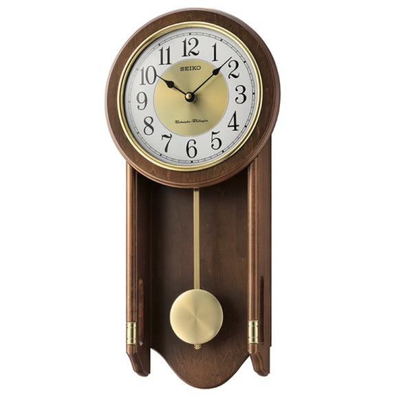 Seiko Wooden Chiming Wall Clock with Pendulum QXH073B - Watch it! Pte Ltd