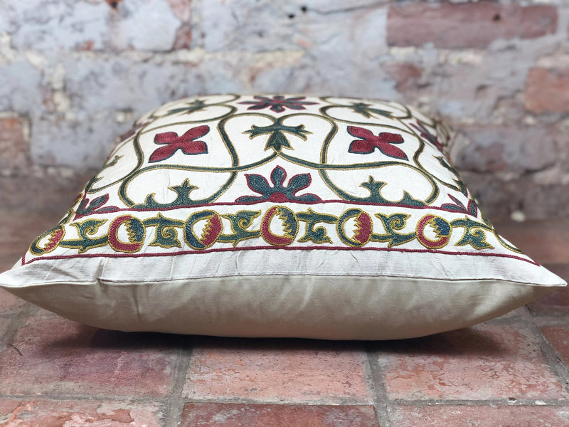 Fine Suzani Silk Cushion - Rugs of Petworth