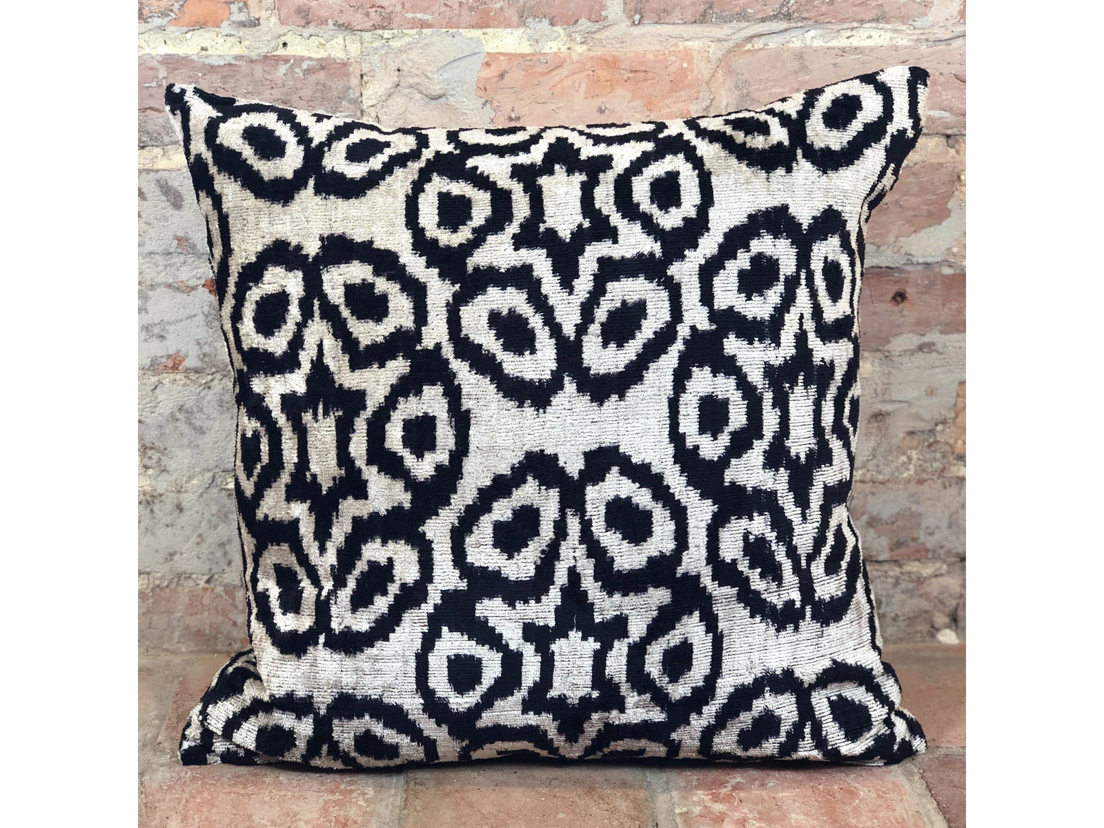 Velvet Ikat Cushion - Rugs of Petworth
