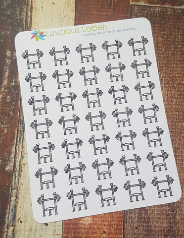 Weight Training Mini Icon Planner Stickers