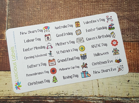 Australian Public Holiday Icon Stickers