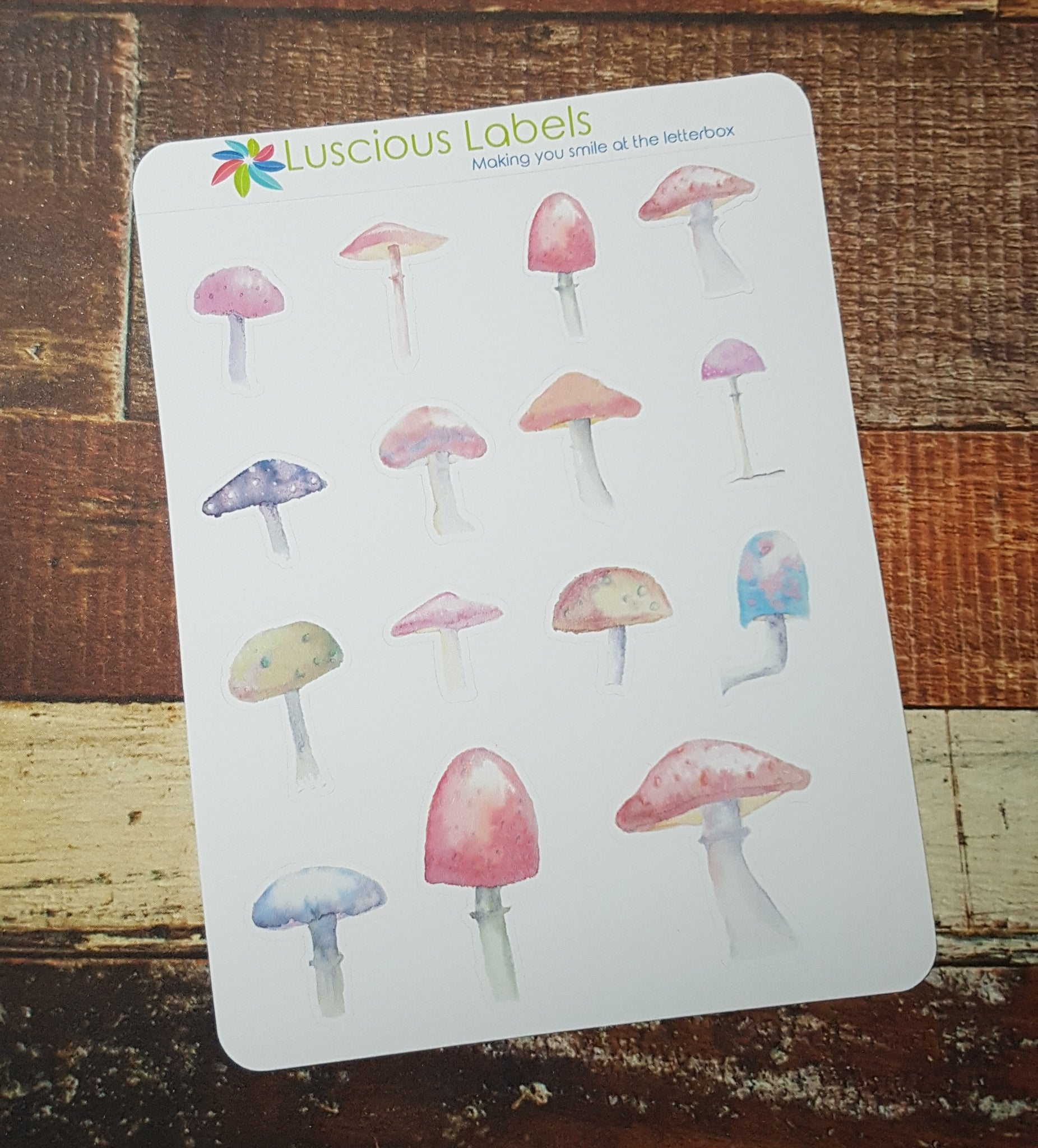 Hand Painted Watercolour Mushroom Stickers
