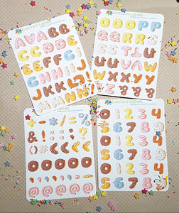 Donut Font Stickers - Australian Planner Community Cupcake Day Event