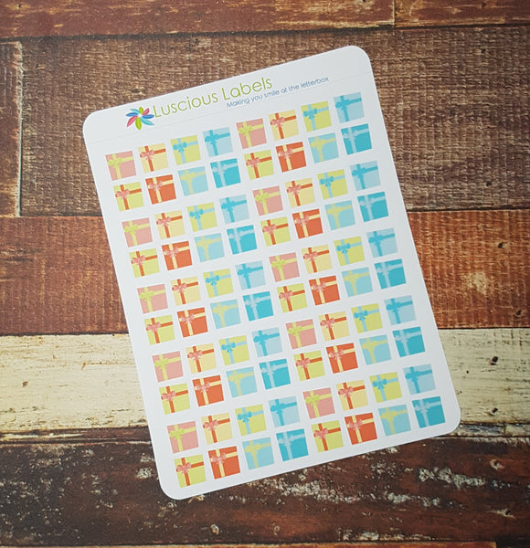 Mini Icon Birthday Present Gift Planner Stickers