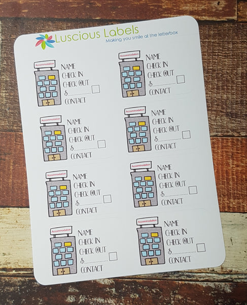 Hotel | Accommodation Tracker Planner stickers