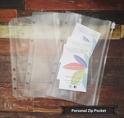 Personal Planner PVC Pockets  Credit Card and Zip