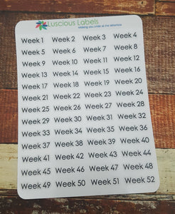 52 Week Number Stickers