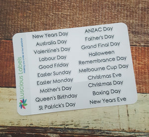 Victorian Public Holiday and Noteworthy Day Stickers