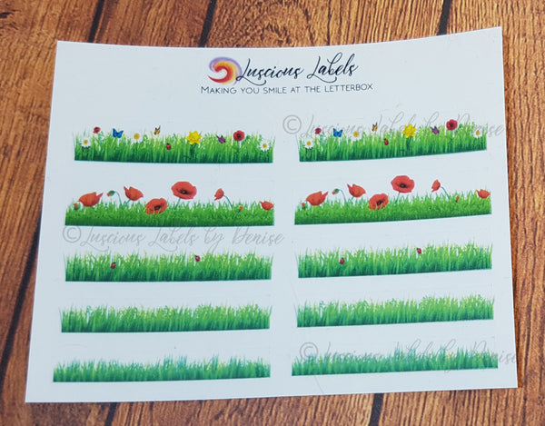 Mixed Grass stickers including Poppies, Ladybug & Flower designs