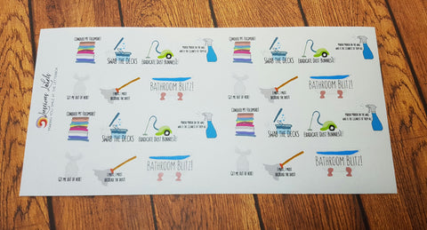 Cleaning Housework Punny Stickers for Erin Condren style planners, Personal Planners, Happy Planner