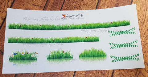 Grass with Ladybug Sticker Kit to suit Erin Condren inspired planner inserts