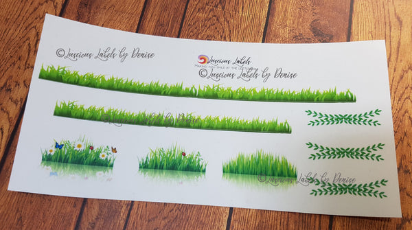 Grass Clear Sticker Kit to suit Erin Condren inspired planner inserts