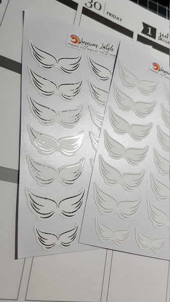 Delicate Wing Memorial Stickers for remembering Loved ones | Silver & Gold