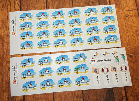 Cruise Holiday Vacation Countdown Stickers