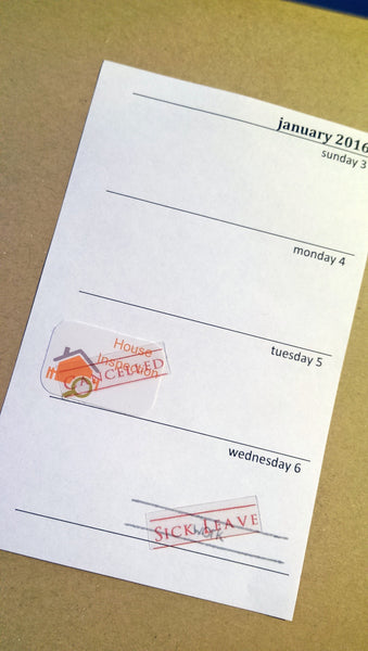 Clear Scheduling Amendment Stickers - Cancelled, Postponed, Reschedule, Oops! Forgot, Sick Leave and Bill Paid