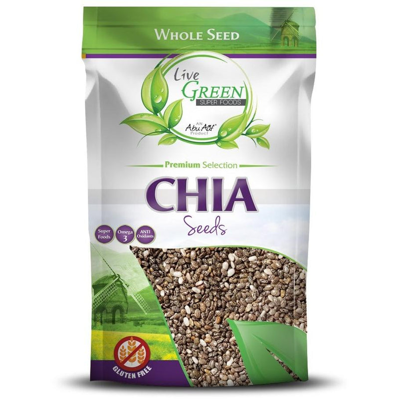 Live Green Chia Seeds, 400 gm / حبوب الشيا - Abu Auf