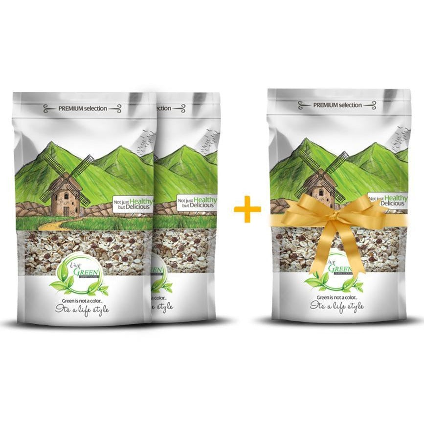 2 Live Green Oats Muesli Nuts & Dried Fruits 450 gm + 1 For Free / حبوب المٌسلى - Abu-Auf.com