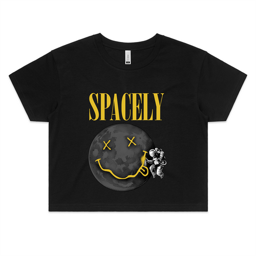 Spacely Clothing Moon Tag - Womens Crop Tee - SpacelyClothing