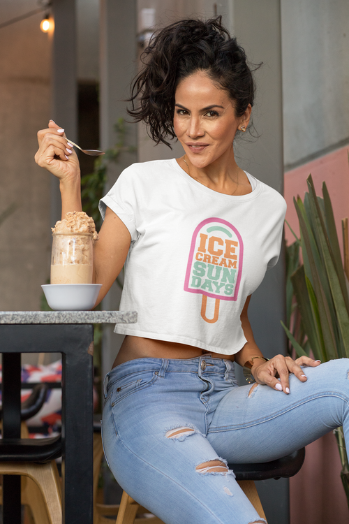 Spacely Clothing: Ice Cream Sundays Collaboration - Womens Crop Tee - SpacelyClothing