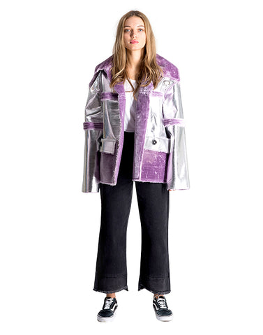MIRANDA SILVER LILAC JACKET FAUX FUR LEATHER