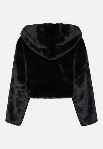 XENA BLACK CROPPED HOODED JACKET