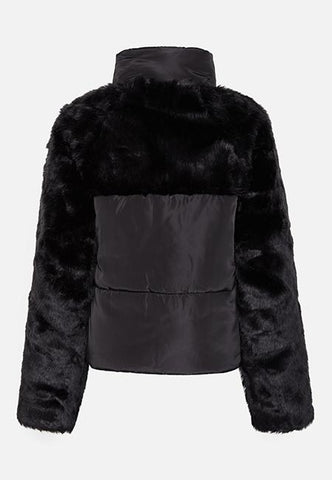 THE BLACK PUFFA FAUX FUR PANEL JACKET - Story Of Lola