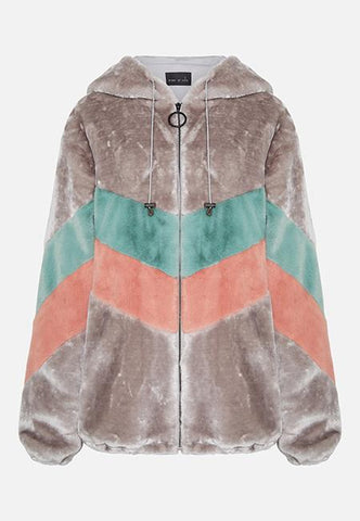 FAUX FUR CHEVRON HOODED JACKET - GREY