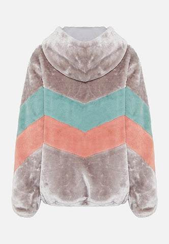 Story Of Lola | FAUX FUR CHEVRON HOODED JACKET | GREY