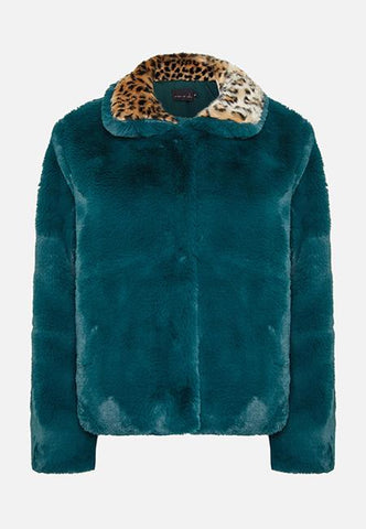 Story Of Lola | THE LUNA FAUX FUR GREEN AND LEOPARD JACKET
