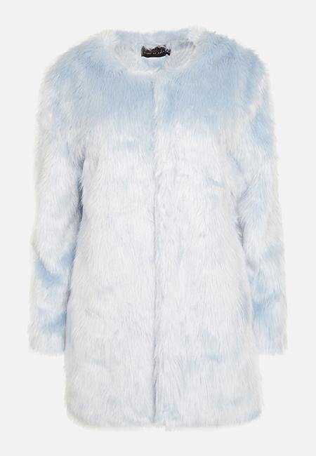 PASTEL BLUE FAUX FUR COAT