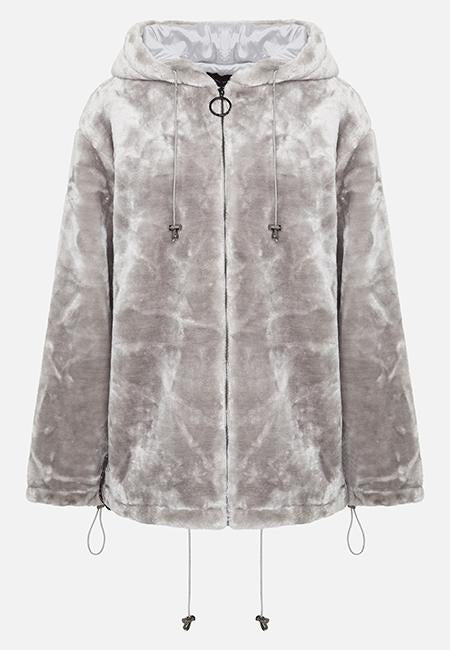 GREY LOLA HOODIE FULL ZIP FAUX FUR