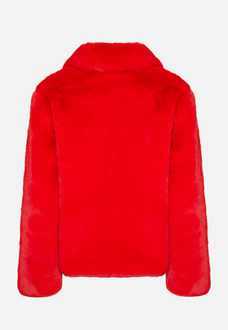 THE LUNA FAUX FUR RED JACKET - Story Of Lola