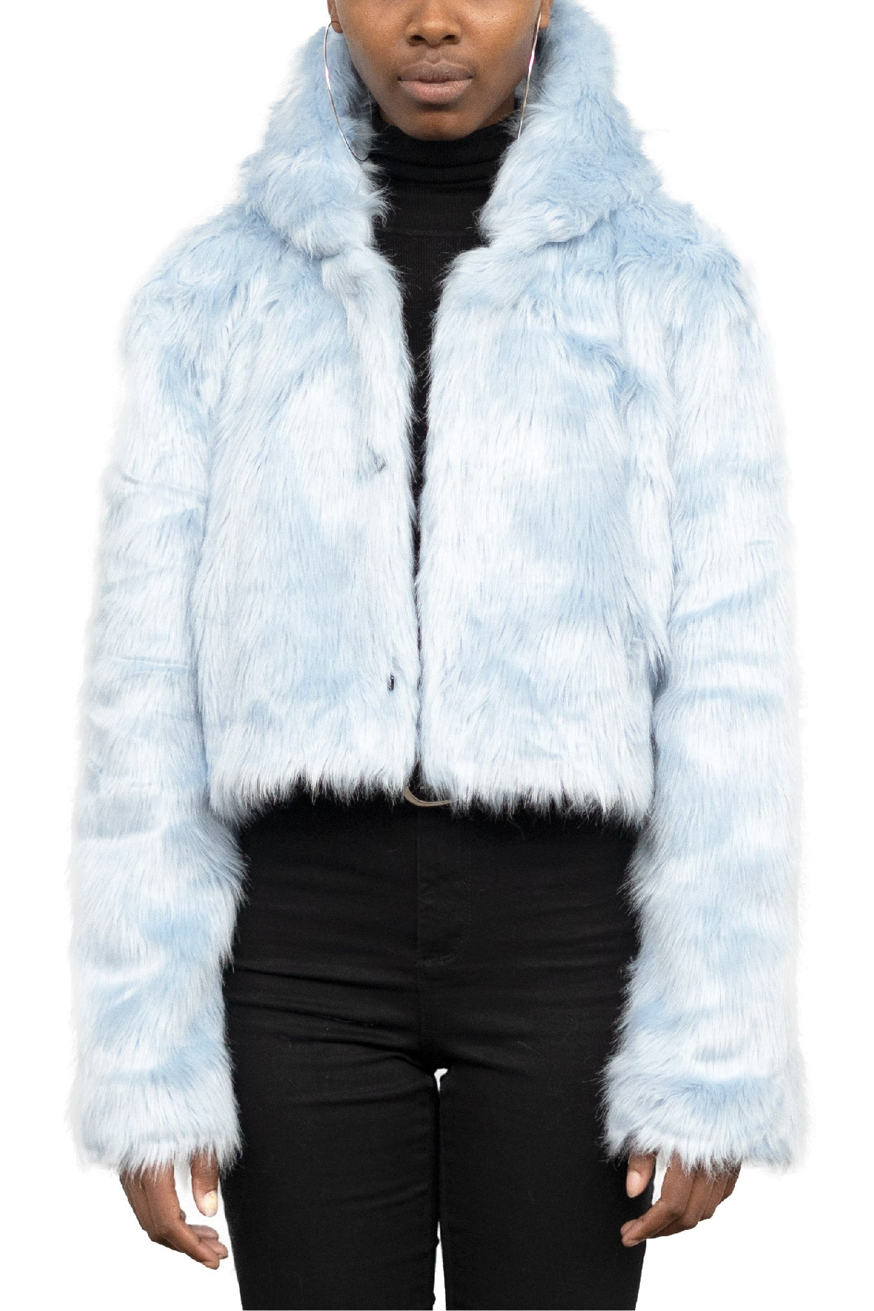 PASTEL BLUE HOODED FAUX FUR JACKET