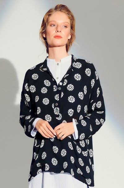 Black Rosette Dot Blouse W/ Buttons