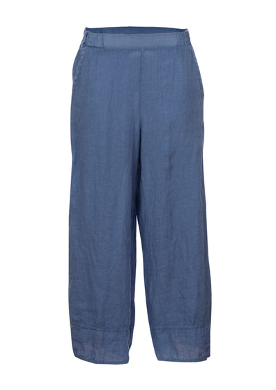 Ruby Indigo Linen Woven Straight Cut Pants