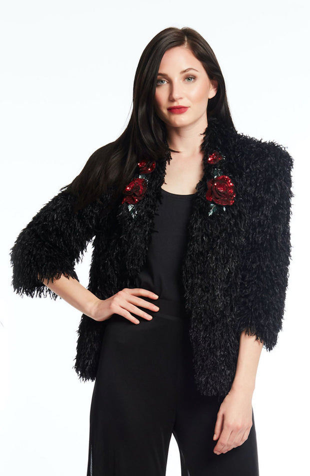 Faux Jacket W/ Sequin Red Flower