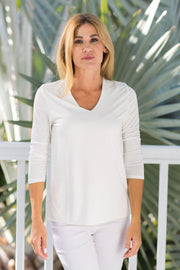 V-Neck Solid Ivory
