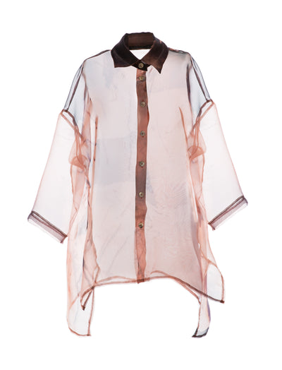 Vanessa Cinnamon Button Down Organza Tunic