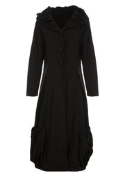 Alexa Black Button Down Coat