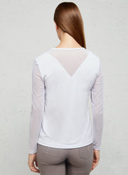 White Kim Mesh Sleeve Top