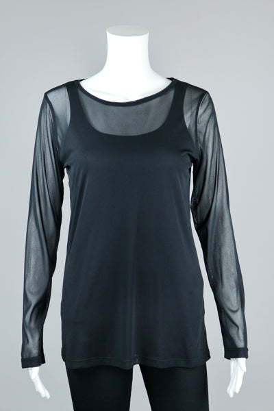 Black Long Sleeve Mesh Tee