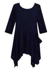 Navy Long Sleeve Asymmetrical Top