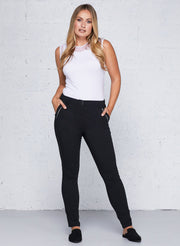 Black Gail Curvy High Waisted Zip Detail Pants
