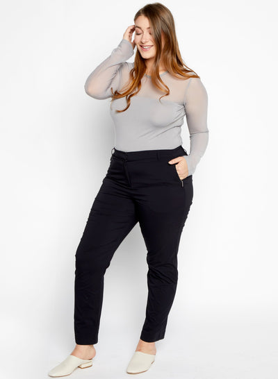 Black Thea Curvy Straight Leg Pants