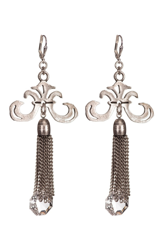 GRAND FLEUR EARRINGS W/ CHANDELIER CRYSTAL TASSEL