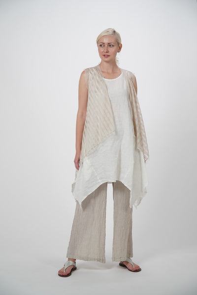 Aria White Sleeveless Linen Woven Tunic
